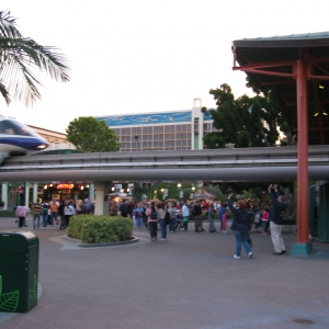 Monorail Station with Disneyland Hotel in Background