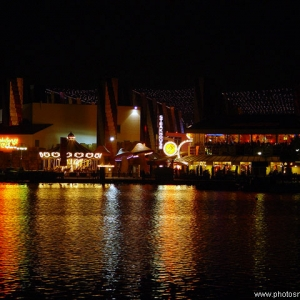 Disney Village at night