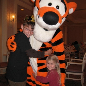 My kids with Tigger during one of our many character meals.
