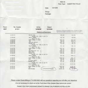 Grand Californian Hotel bill