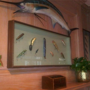 Papa's Den Display  swordfish and lures