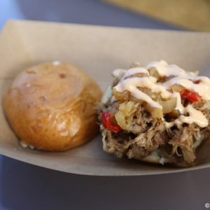 Kalua Pork Slider with Sweet and Sour Dole Pineapple Chutney and Spicy Mayo