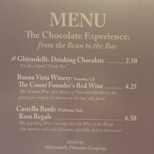 The Chocolate Experience Menu