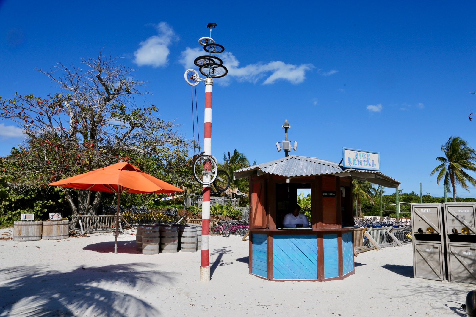 Bike rental shack on Castaway Cay