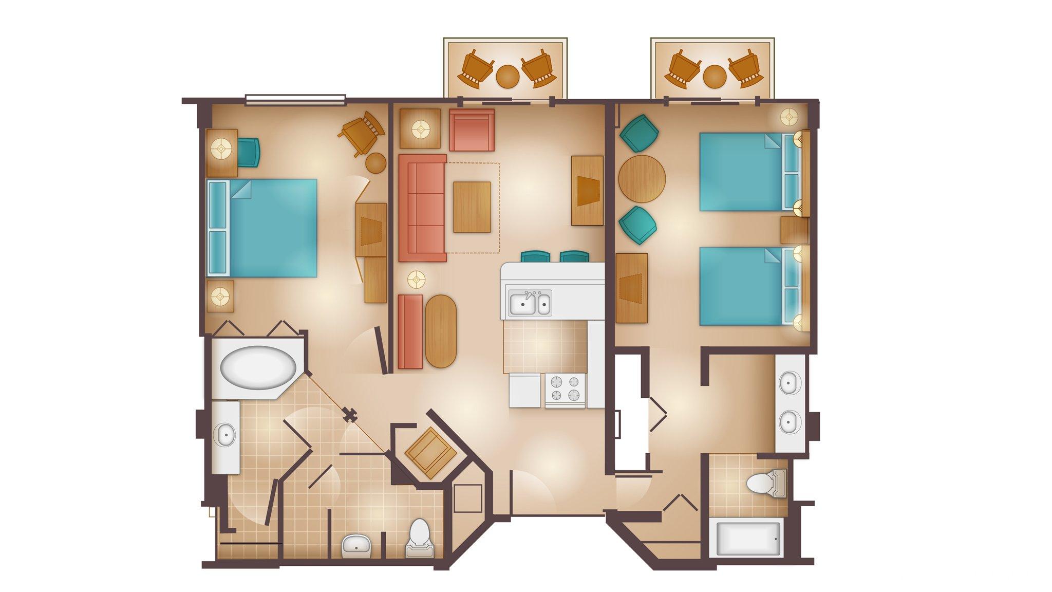 Floorplans For 2 Bedroom Villa At Disney S Beach Club Resort The Dis Disney Discussion Forums Disboards Com