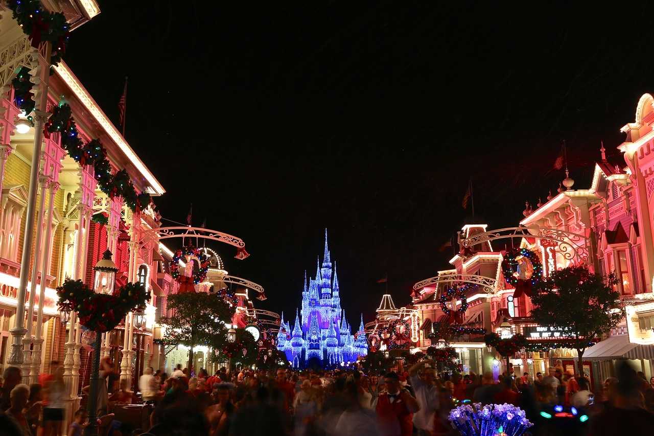 disney world christmas on main street at magic kingdom