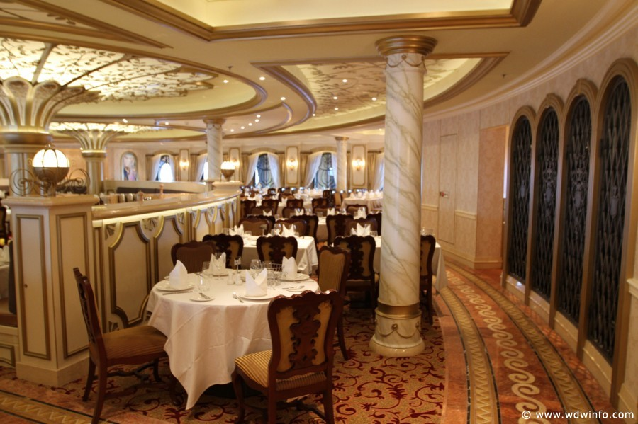 Disney Cruise Line Dining - Some dining room tables seat four guests.