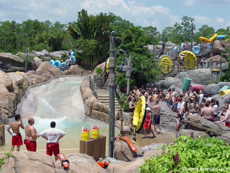 0a9fb6f1e4c31 Gangplank Falls - Huge inner tubes holding four guests careen down rapids  and through special water effects and rock formations on this 300-foot  family raft ...